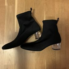 zara black ankle boots with crystal block, size 5