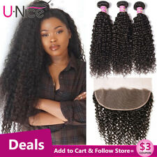 UNice Malaysian Kinky Curly Hair 13x4 Frontal Closure with 3 Bundles Curly Hair