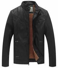 WenVen Men's Genuine PU Leather Biker Jacket Black, Size M