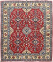 Traditional Super Kazak Hand-Knotted Area Rug Vegetable Dye Oriental Carpet 8x10