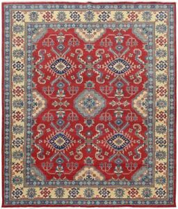 Traditional Super Kazak Hand-Knotted Area Rug Vegetable Dye Oriental Carpet 8x10