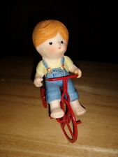 Vintage Enesco 1981 Porcelain Little Country Girl On Red Bicycle Cute figurine
