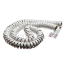 12' ft Telephone Handset COIL Cord Phone Cable Home Office 4P4C RJ-22 White NEW