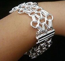 Wholesale 925Sterling Silver Jewelry Mesh Ladder Olympics Sign Bracelet H013