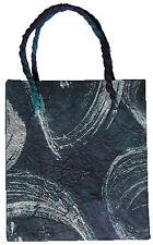 Geschenktasche, blau-silber 15x17x8 cm    Geschenkverpackung Tüte Tragetasche