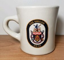 Vintage Uss Shiloh Cg 67 Off White Coffee Mug Armed Forces China Co. Usn Navy
