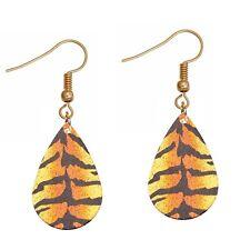 """Orange Gold Glitter Tiger Print Lightweight Teardrop 2"""" Dangle Hook Earrings"""