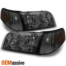 98-11 Crown Victoria Smoke Headlights + Corner Signal Lamps Replacement 4pcs Set