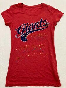 M89 Rare Retro Vintage Vtg N.Y Giants Red Glitter Tee T Shirt  WOMEN'S M Jersey