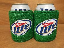 Miller Lite Football Green Turf Koozie Huggie Bottle Can - Set of (2) New & F/SH
