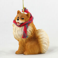 Pomeranian Dog Christmas Ornament Scarf Figurine