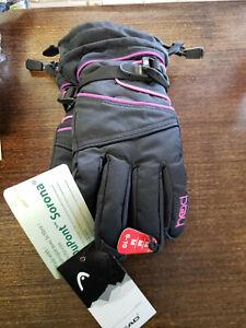 Head JR Girl's Ski Gloves Black Medium Fleece Lined Adjustable