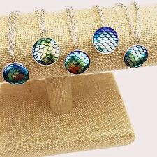 "Fantasy Mermaid Scales Necklace Iridescent Blue 18"" Silver Tone Chain Ocean NWT"