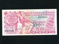 Burundi:P-22b,50 Francs,1971 * Drummer * AUNC *