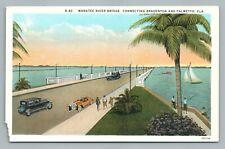 Manatee River Bridge Bradenton Palmetto Florida—Antique Postcard (Corner) 1920s