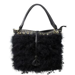 Faux Feather Fluffy Tote Bag Women Cosy Winter Shoulder Crossbody Handbag AB8630