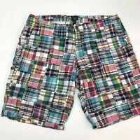 Gap Khakis Shorts Mens 40 Blue Green Pink Cotton Madras Plaid Zip Fly Casual