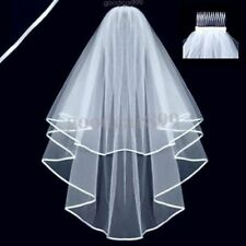 Beautiful White 2 Layer Stock Short  Satin Hem Wedding Bridal Veil With Comb