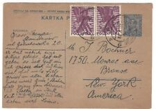 1931 Poland Uprated 15g Postal Card to New York Pair 5g #263