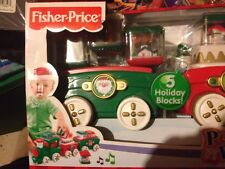 New RARE Fisher Price Holiday Christmas Train Peek A Blocks press And Go