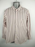 """MENS LACOSTE PINK/WHITE/NAVY STRIPED BUTTON UP LONG SLEEVED SHIRT L LARGE """"42"""""""