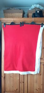 Red Fleece Tablecloth with White edge strip...52 inches x 68 inches..