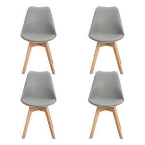 4er Set Esszimmerstühle mit Massivholz Buche Bein, Retro Design Gepolsterter DE