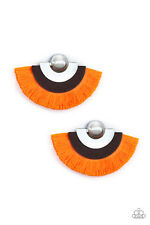 Fan The Flamboyance Neon Orange Stud Post back Paparazzi Earring Fringe