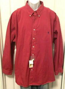 NEW Men's Ralph Lauren 2XL BIG Solid Red Long Sleeve Button Front 2XB Shirt NWT