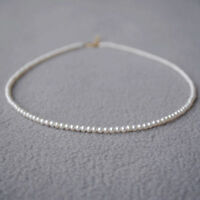 "15"" mini AAA+3-4 mm Real natural Akoya white round pearl necklace 14k Gold"