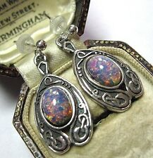 VINTAGE DESIGN SIGNED MIRACLE CELTIC ART NOUVEAU FIRE OPAL GLASS DROP EARRINGS