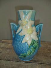 "Vintage Roseville Art Deco Pottery 108-8"" White Clematis Blue Two Handle Vase"