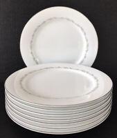 "Noritake Crestmont Dinner Plates 10 1/2"" Set Of 8 White Grey Platinum Trim"
