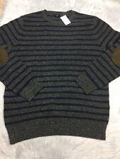 NWT J Crew Factory Gray Blue Donegal Striped Crew Sweater Lamb Sz L
