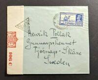 1942 Bombay India Censored Airmail Cover to Tjornap Skane Sweden