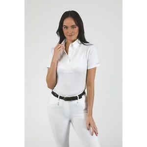 Shires Aubrion Short Sleeve Horse Competition Tie Shirt in White