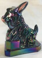 Boyd Art Glass Hand Painted Black Carnival JB Scottie Dog Made For Woodandmore
