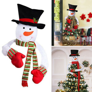 Christmas Tree Topper Snowman Cover Decor Xmas Tree Top Ornament Hat Xams Gifts
