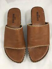 Sesto Meucci Womens Sandals Italian Leather Slide Wedge Heel Brown Tan Size 8N