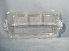 Glass Relish Dish Tray Clear Etched Flower Fern Divided Scalloped Rim Handle Vtg