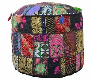 "100%Cotton Indian Patchwork Khambadiya Ottoman Pouf 14X18"" Throw Footstool Cover"