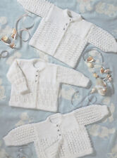 """Premature Baby or Dolls Knitting Pattern 3 Matinee Coats 12 - 20"""" DK or 4 ply"""