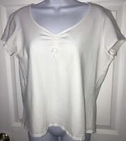 J Jill S/S Shirt Top Tee Blouse Cotton Lycra Stretch White Sz LP Petite LARGE