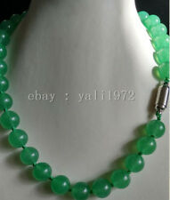 AAA 10MM green jade necklace 18inch magnet clasp