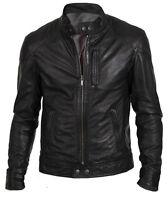 Men's Biker Hunt Black Motorcycle Leather Jacket