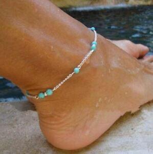 Fußkette Perle Fußkettchen Fusskette - Modeschmuck filigran Türkis Edel NEU