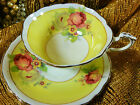 PARAGON TEA CUP AND SAUCER yellow HP PINK & WHITE ROSES FLORAL GOLD TRIM 1939