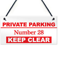 Personalised Private Parking Hanging Plaque Access Keep Clear Sign YOUR NUMBER