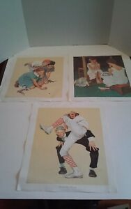 Lot of 3 Norman Rockwell Canvas Prints 1972 Curtis Publishing Knuckles Down USA