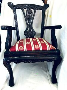 Vintage Chippendale Style Mahogany Childs Doll Accent Chair